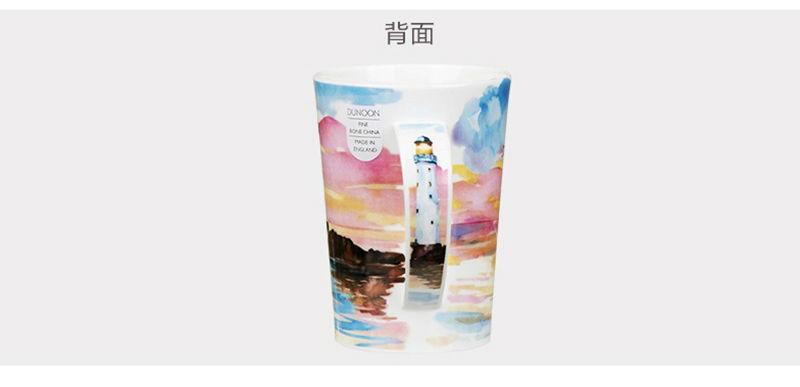 英国丹侬Dunoon骨瓷茶杯马克杯隐居地水杯侧面图案